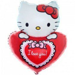 Фігурна фольгована кулька Hello Kitty ILY, 74 x 55 см